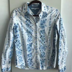 TOMMY HILFIGER Long sleeve blue floral shirt small